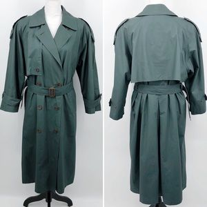Anne Klein Rainwear Trench Coat Belted Green 14P